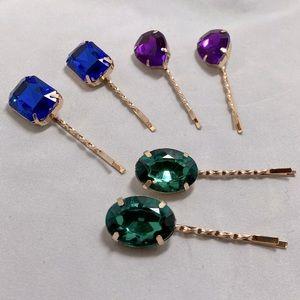Jeweled Colored Hair Bobbie Pins Set